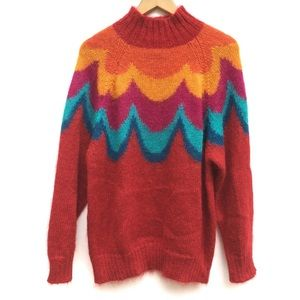 Vintage Fuzzy Rainbow Oversized Pull Over Sweater